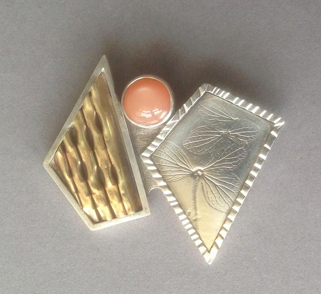 2 Polygon Pin w/ Champagne Moonstone, Item #P0720