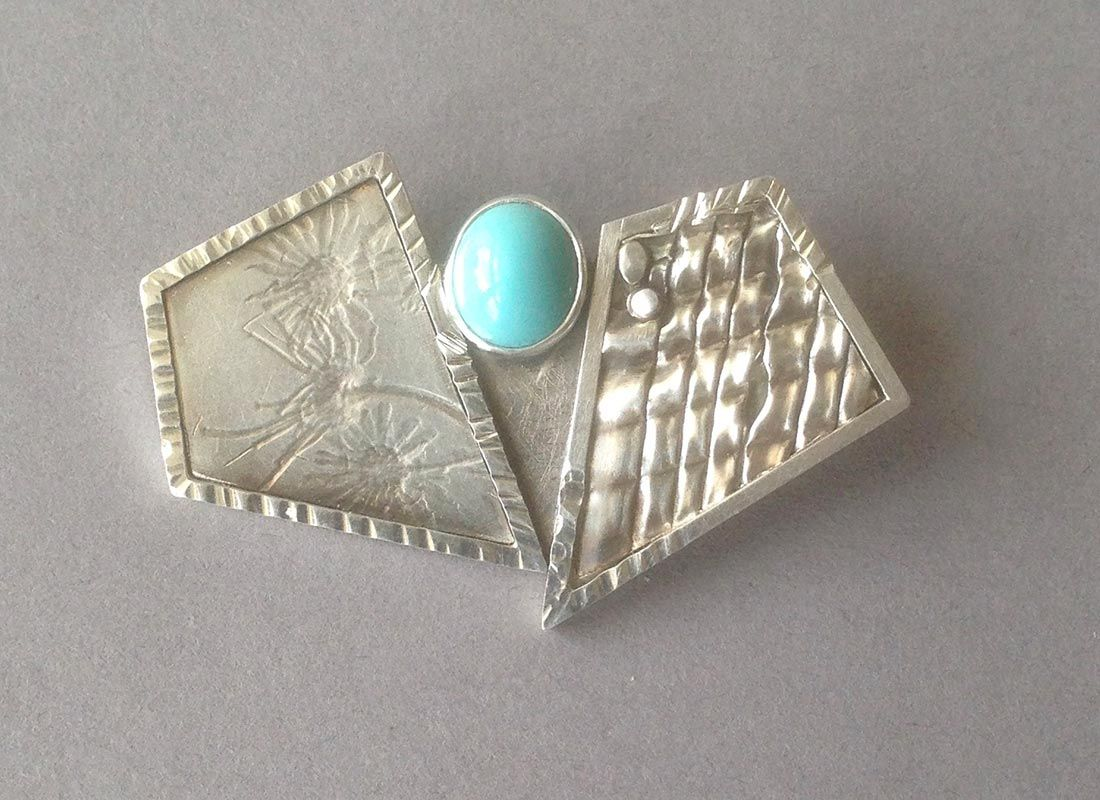 2 Polygon Pin w/ Persian Turquoise, Item #P0820