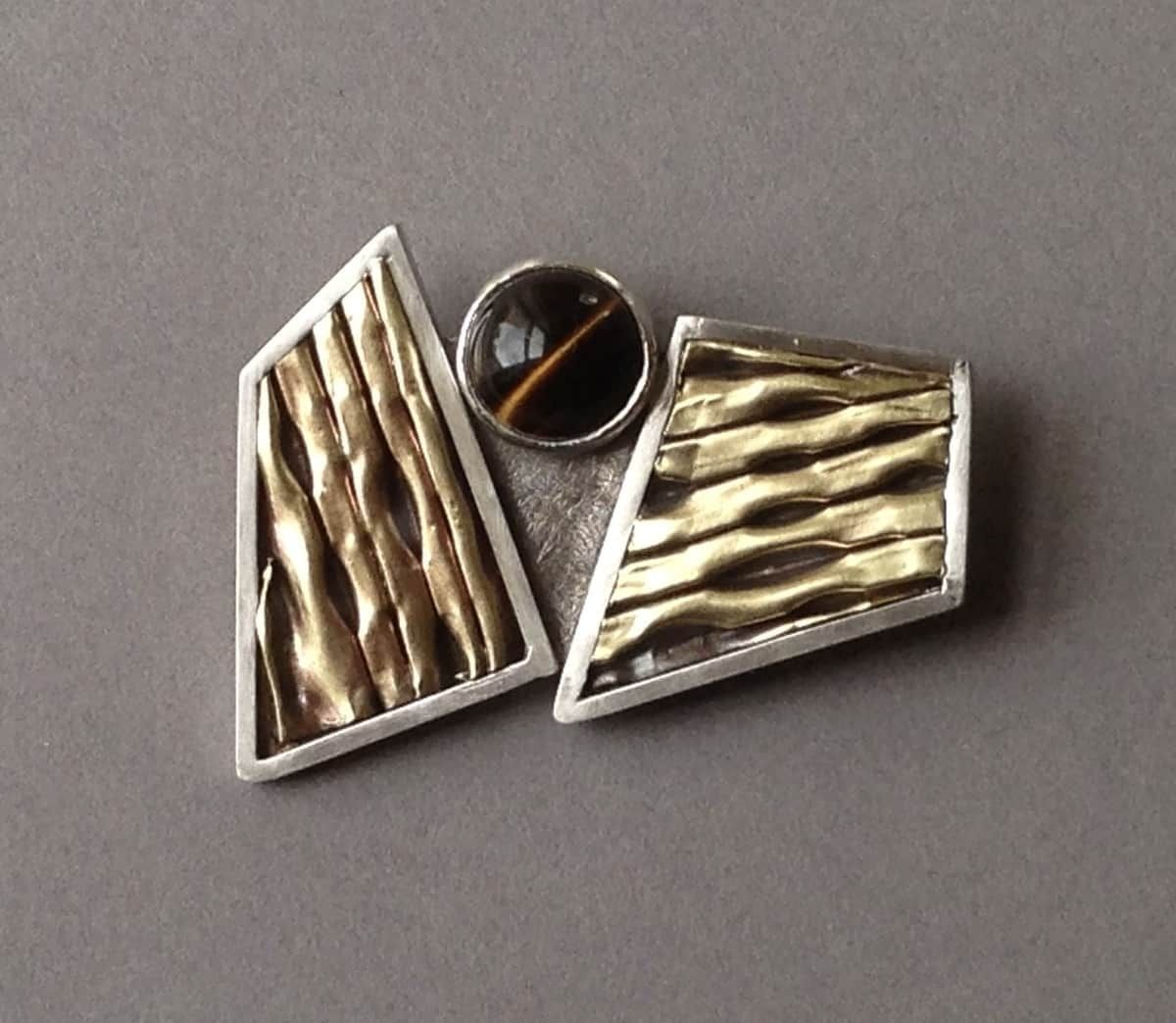 2 Polygon Pin w/ Brown Tigereye, Item #P0620