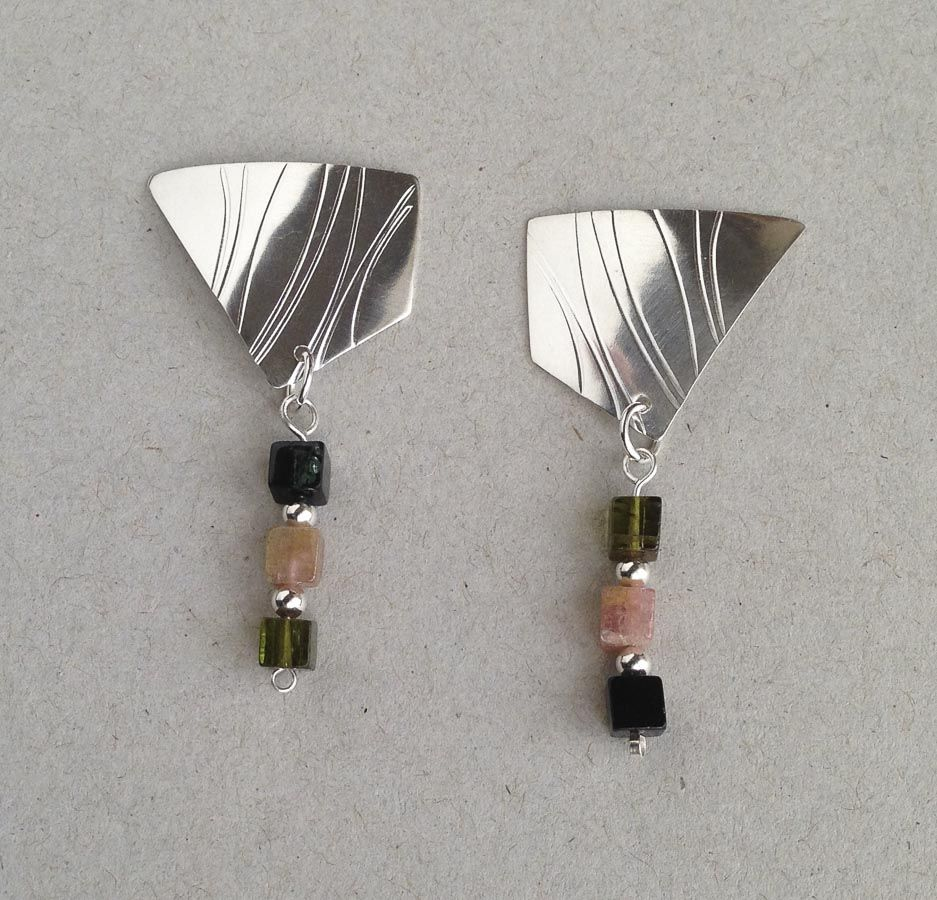 Textured Polygons w/ Tourmaline Beads