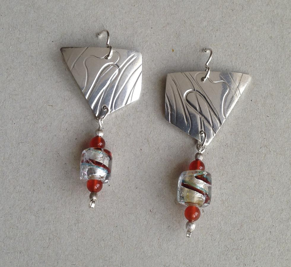 Textured Polygons w/ Dichroic Glass and Carnelian Beads