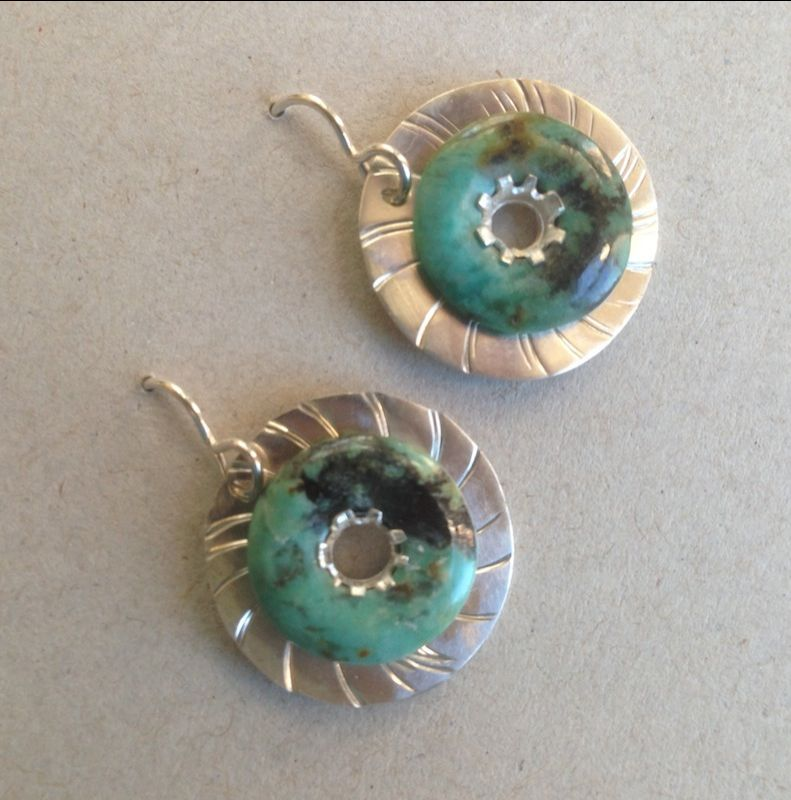 Earrings w/ African Turquoise Rondales
