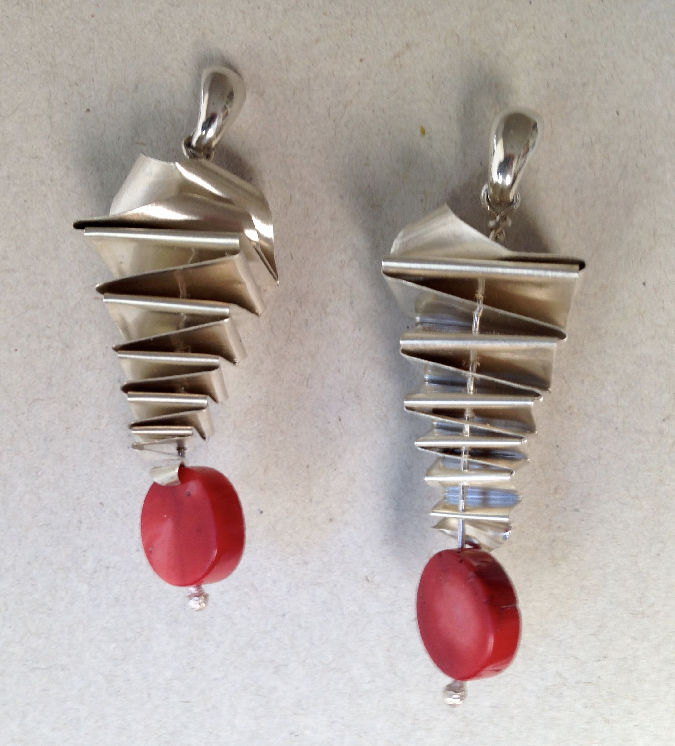 Tapered Bifold Earrings w/ Coral Beads